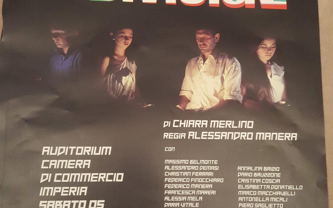 """Commedia """"Condivisione"""", regia di Alessandro Manera, sabato 5 ottobre 2019, ore 21.00 presso la Camera di Commercio di Imperia."""